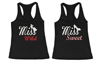 Amazon.com: BFF Tank Tops Miss Wild and Miss Sweet with Shoes Matching Shirts for Best Friends: Clothing