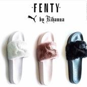 shoes,puma,rihanna,slide shoes,fur slippers,girl,pink,black,white,fluffy slides,slippers