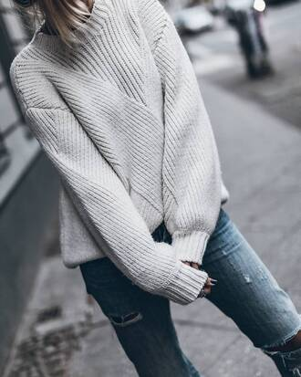 sweater tumblr grey sweater jeans denim blue jeans ripped jeans ring silver ring