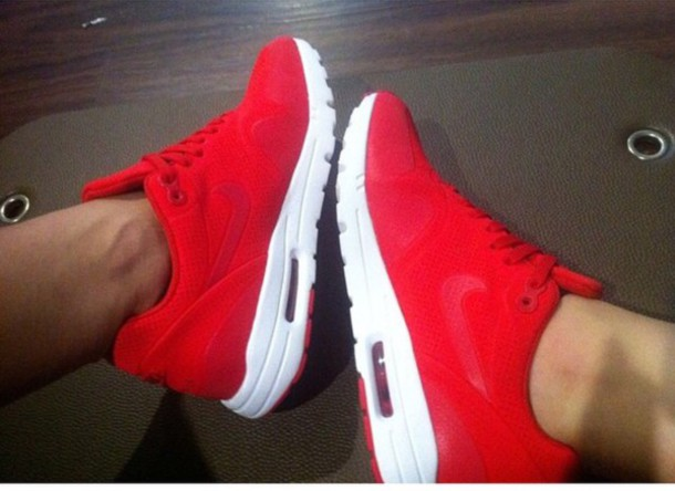 shoes red and white air max 1