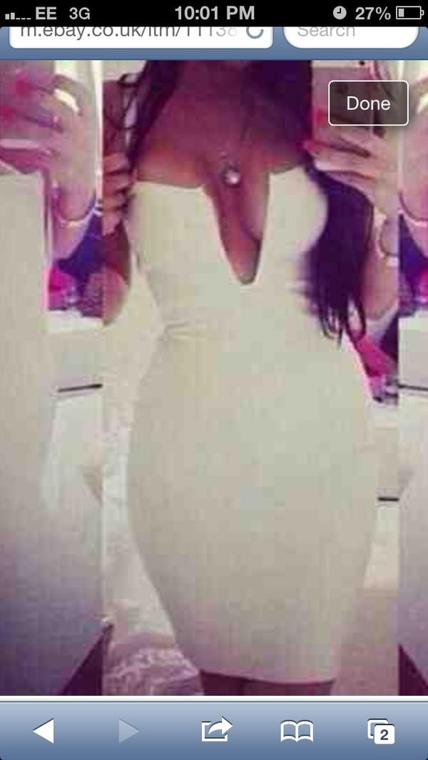 white v plunge bodycon dress dress