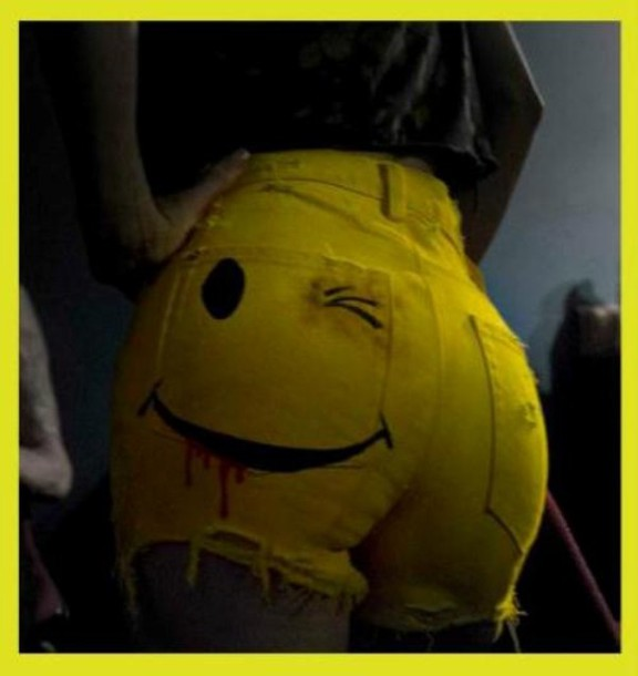 shorts happy face die antwoord celebrity yellow yellow shorts cute sexy pretty smiley style High waisted shorts hot pants