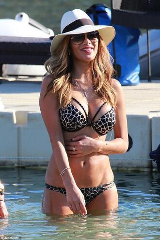 swimwear bikini top summer bikini bikini bottoms nicole scherzinger beach hat sunglasses