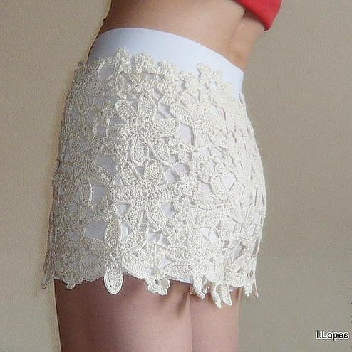 lace shorts White Flowers van Mygoodday op Etsy