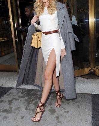 dress candice swanepoel grey coat white dress slit dress sandals