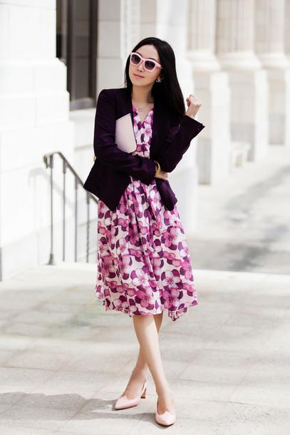 Fit Fab Fun Mom Blogger Dress Jacket Shoes Sunglasses Bag Jewels Wheretoget