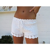 shorts,crochet,cream,white,lace,scalloped,summer