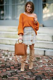 something delightful,blogger,sweater,skirt,bag,shoes,jewels,beige boots,orange sweater,fall outfits,fall colors