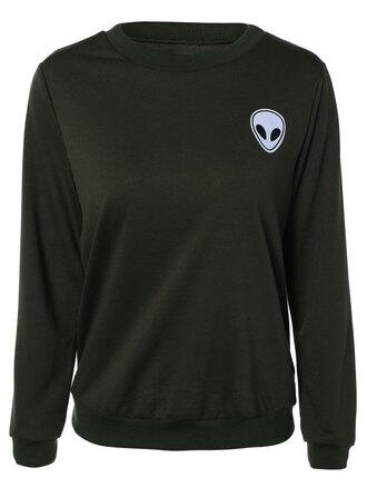 sweater long sleeve shirt black sweater alien top sweatshirt alien t-shirt