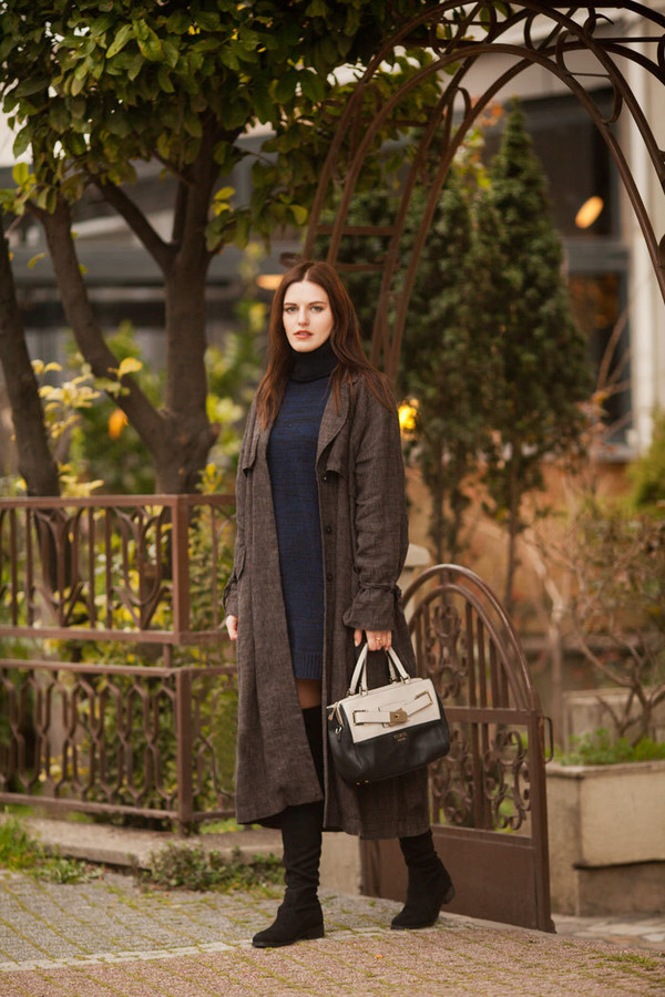 the bow-tie blogger sweater dress coat bag shoes spring outfits knitted dress turtleneck dress boots over the knee boots
