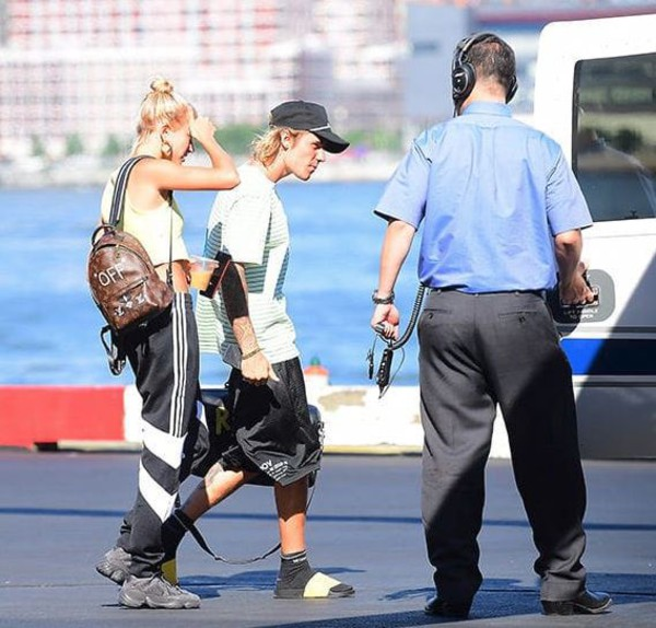 top hailey baldwin shoes sneakers bag crop tops cropped crop backpack sweatpants summer summer outfits