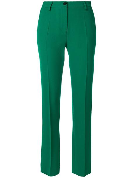 women fit silk wool green pants