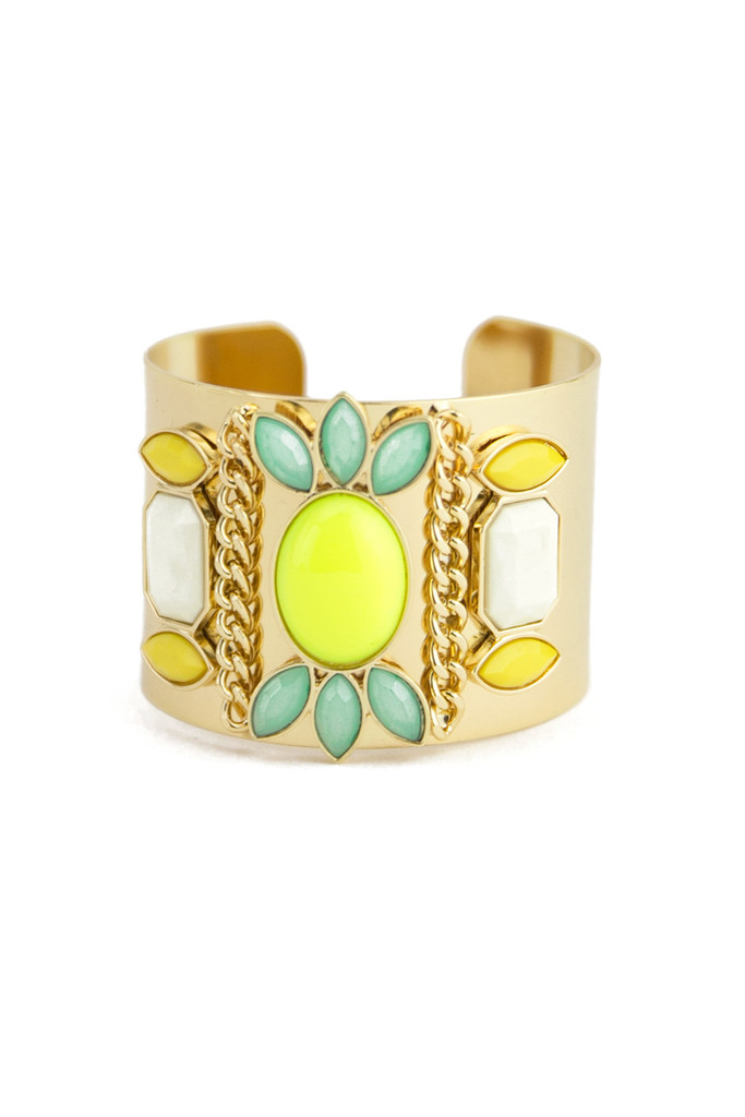 COLORED STONES CUFF - Lime | Haute & Rebellious