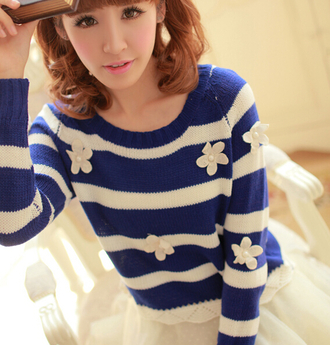 sweater blue white fall outfits cozy fashion winter outfits cute girly kawaii stripes flowers style casual