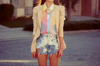 blouse clothes shirt colorful rainbow shirt rainbow sleeveless