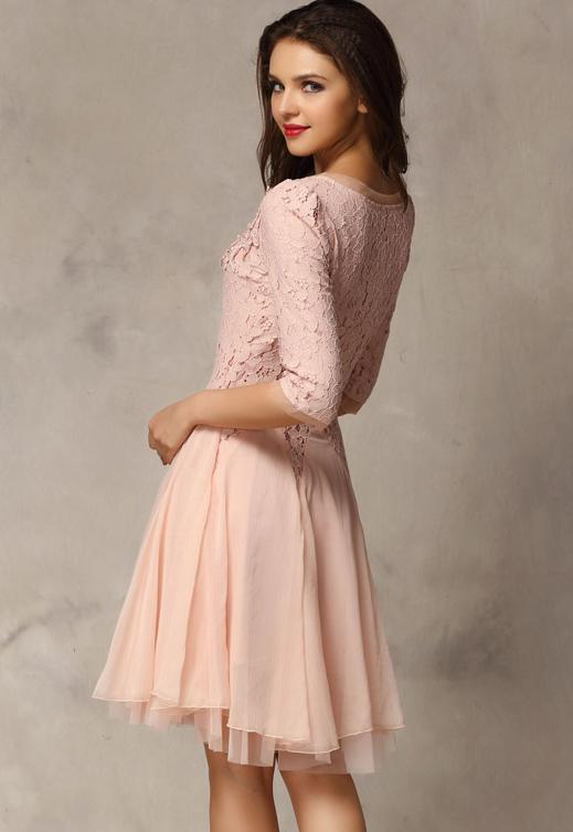 Pink Half Sleeve Lace Bead Chiffon Dress - Sheinside.com