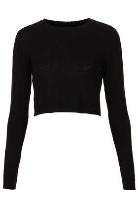 Knitted Crew Neck Crop Top - Knitwear  - Clothing  - Topshop