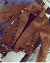 coat,brown jacket,perfecto,suede jacket