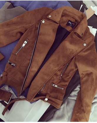 coat brown jacket perfecto suede jacket