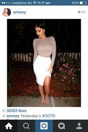 skirt,midi skirt,white,leg slits,tight,hight waisted,long sleve,cropped sweater,shoes
