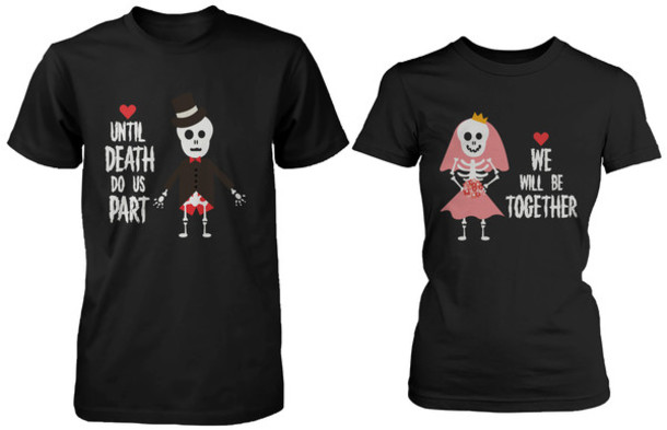 Skeleton shirts skeleton skeleton top halloween for Best couple t shirt design