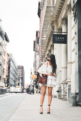 wendy's lookbook blogger dress shoes bag sunglasses jewels white dress mini dress brown bag pumps high heel pumps spring outfits
