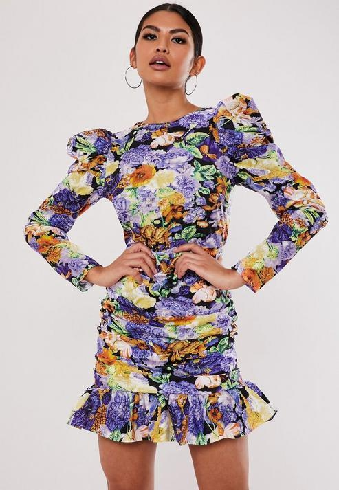 Purple Floral Ruched Puff Sleeve Mini Dress