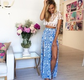 blue skirt,lace top,boho,hipster,top,skirt,tribal pattern,shirt,and,alexis ren,top also,pictures in the back too please,maxi skirt,bohemian,aztec,maxi,blue,slit,beach,bikini,blouse,maxi dress,long,white,pretty,fashion,spring 2015,indie,tumblr,cute,cropped tee,lace,tribal skirt,tumblr skirt,bohemian skirt,summer skirt,crochet top,high waisted skirt,blue long skirt,crop tops,girl,summer,cute summer look,slit maxi skirt,dress,flowers