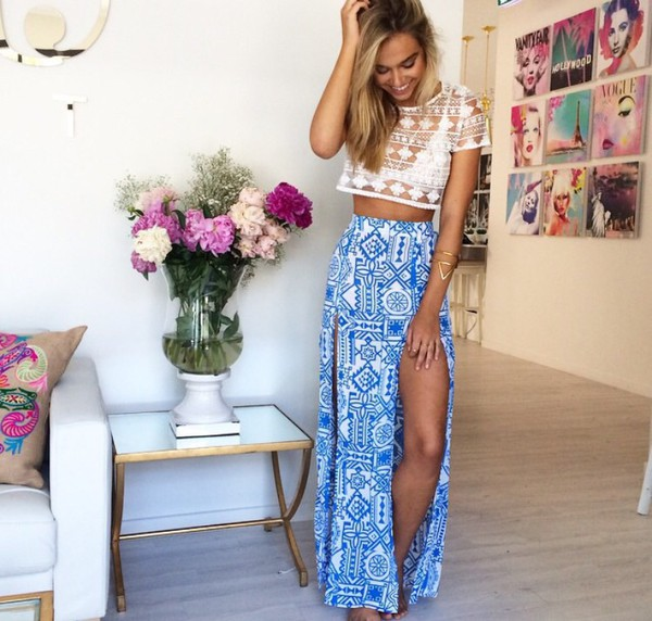 blue skirt lace top boho hipster top skirt tribal pattern shirt and alexis ren top also pictures in the back too please maxi skirt bohemian aztec maxi blue tribal pattern slit beach bikini blouse maxi dress long white pretty fashion spring 2015 indie tumblr cute cropped tee lace tribal skirt tumblr skirt bohemian skirt summer skirt crochet top high waisted skirt blue long skirt crop tops girl summer cute summer look slit maxi skirt dress flowers