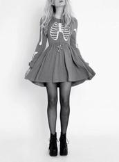 dress,little black dress,light blue,skater dress,skeleton,hipster,tights,blonde hair,blue,cross,tumblr,soft grunge,grey dress,grey,grunge,blue dress,skeleton pattern,baby blue,long sleeve dress,punk,cross necklace,halloween,ribs,bones,skeleton dress,skeleton print,halloween dress,babydoll dress,long sleeves,fit and flare,mini dress