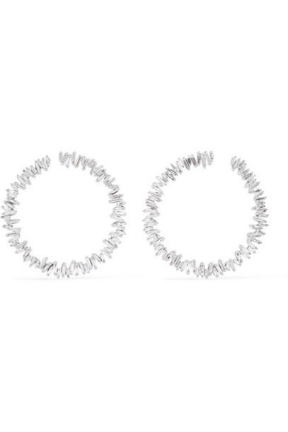 Suzanne Kalan - Spiral 18-karat White Gold Diamond Hoop Earrings