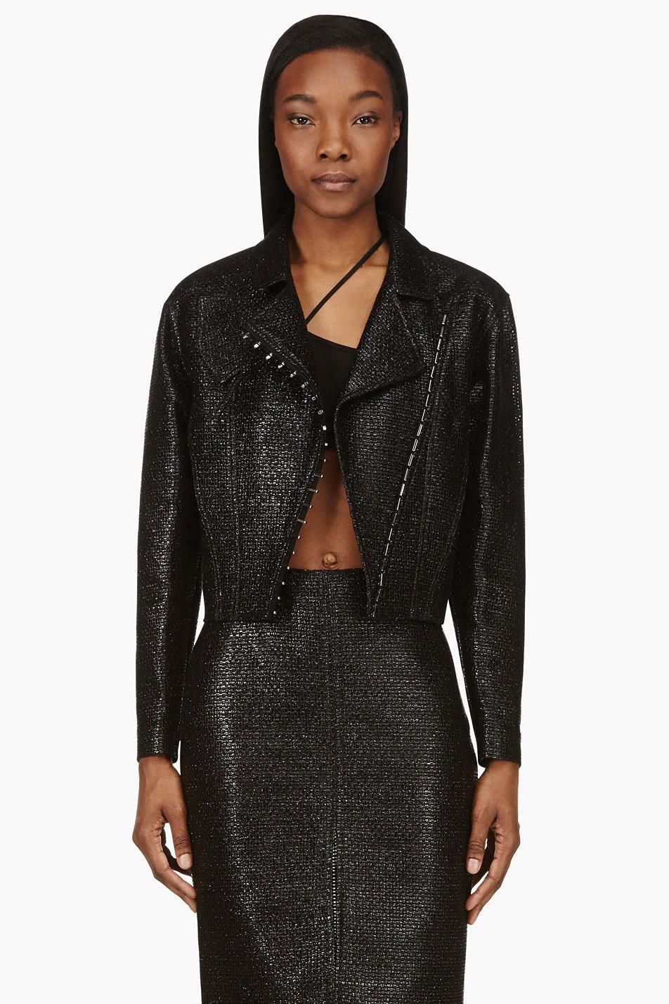versace black glossy basketwoven jacket