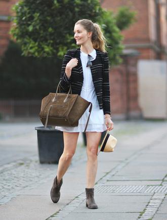 passions for fashion blogger white dress celine bag brown bag black jacket