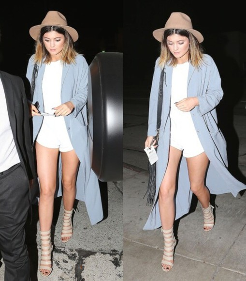 kylie jenner shorts white romper, nude shoes hat coat shoes