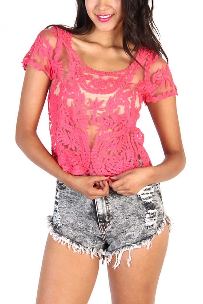 Fuchsia Floral Lace Short Sleeve Top