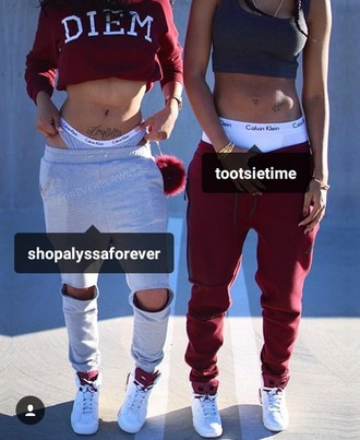 pants tootsie time alyssa youtuber burgundy x grey x black x white model fitness calvin klein jordans sweatpants bra top crop-top sweater $$$$ dope londons finest