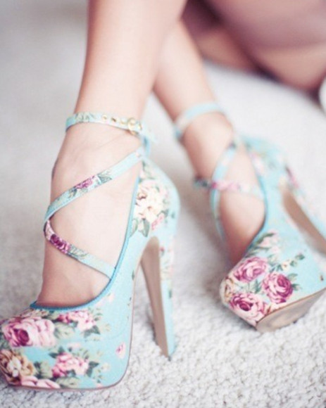 high heels stilettos shoes blue with flowers cherry blossoms, heels,