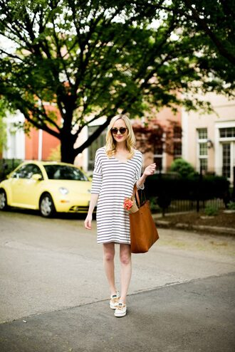 kelly in the city - a preppy chicago life style and fashion blog blogger dress shorts shoes bag sunglasses tote bag striped dress spring outfits