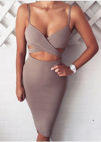dress beige brown tight skin cream