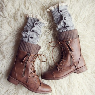 shoes rugged lace-up combat boots sweater boots brown zip-up
