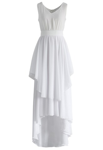 dress ethereal waterfall chiffon maxi dress in white chiffon maxi dress white