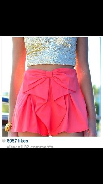 shorts pink high waisted shorts bow