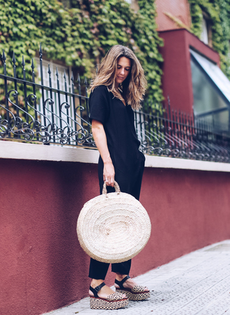 jumpsuit tumblr black jumpsuit sleeveless bag tote bag round tote sandals wedges wedge sandals shoes