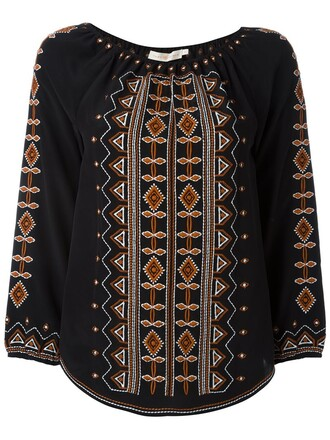 tunic embroidered women black silk top