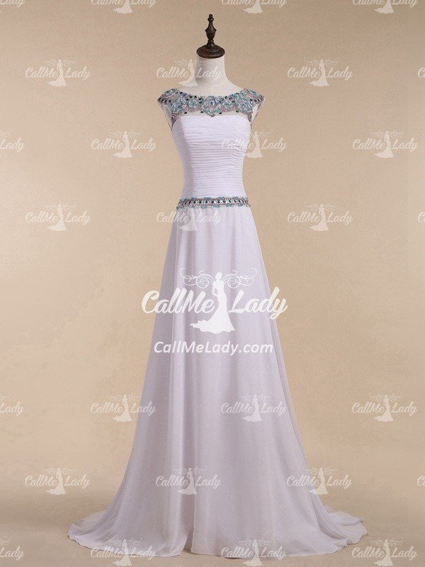 Gorgeous white beading high neck zipper long evening dresses - CallMeLady