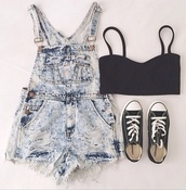swag,vintage,pants,shorts,acid wash,converse,crop tops,overalls,summer,sneakers,dungarees,underwear,bandeau,shoes,top,shirt,tank top,jeans,romper,denim,denim jumpsuit,tumblr,tumblr girl,grunge,soft grunge,suspender shorts,edgy,tumblr outfit,summer outfits,short overalls,jumpsuit,denim overalls,black crop top,bra,boho,hipster,dress,cool,whitewash,denim dungerees,bralette