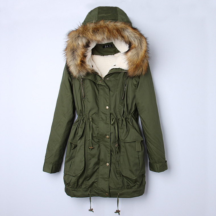 Women's Thick Military Jacket Faux Fur Hood Long Winter Coat Lining Parka Green