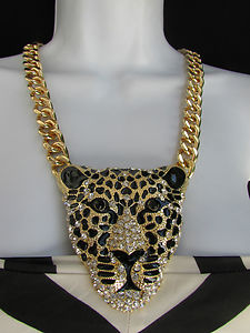 "New Women Gold Chain Big Tiger Panther Metal Head Fashion Necklace Long 13"" Drop 