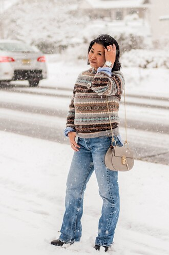 preppypanache blogger sweater bag top jeans jewels shoes winter outfits
