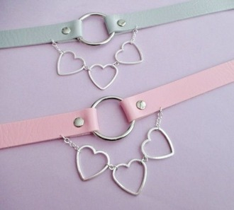 jewels collier rose turquoise vert mint heart ras du cou chain pale
